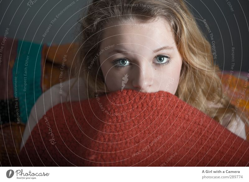 Human being Child Youth (Young adults) Beautiful Red Young woman Eyes Feminine Think 13 - 18 years Uniqueness To hold on Ceiling