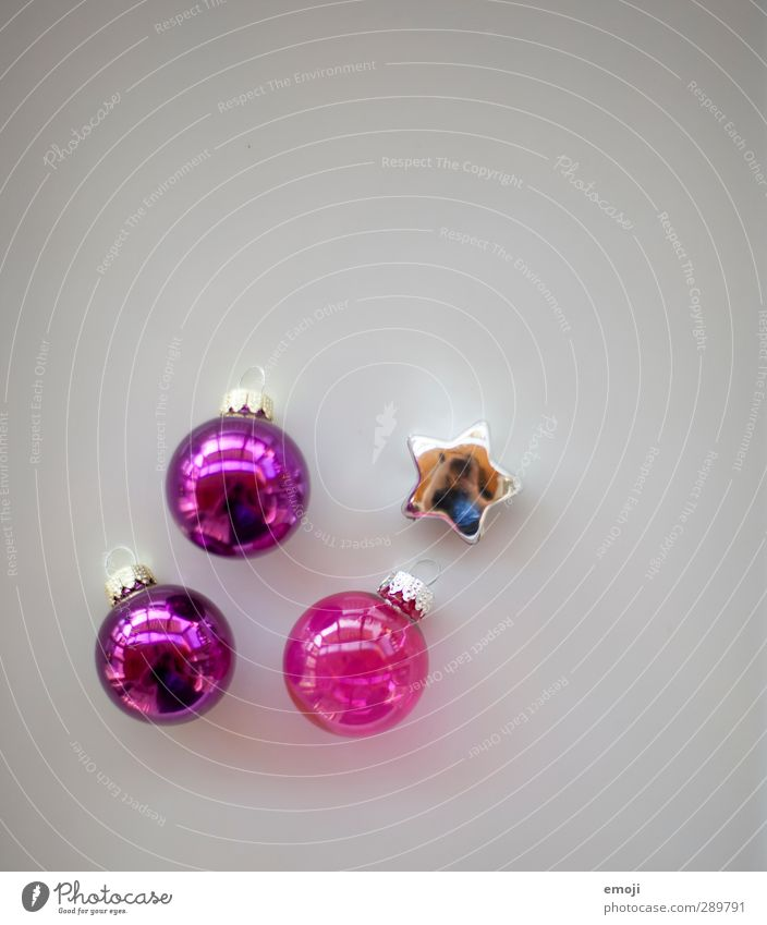 there was something... Decoration Kitsch Odds and ends Collection Christmas decoration Glitter Ball Star (Symbol) Violet Pink Colour photo Interior shot