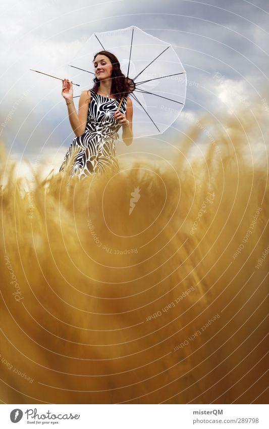 The Good Old Twenties I Lifestyle Art Esthetic Creativity Fashion Woman Model Photo shoot Black & white photo Umbrellas & Shades Field Working in the fields