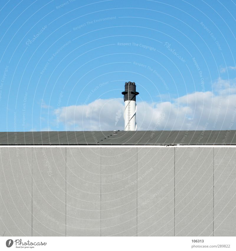 Sky Blue White Loneliness Clouds Calm Black Wall (building) Gray Energy industry Roof Tower Industry Industrial Photography Snapshot