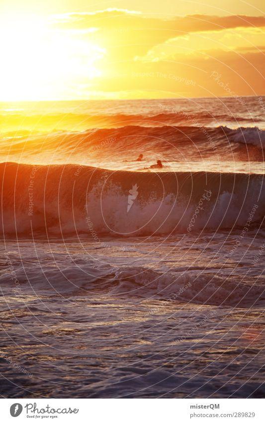 Ocean's Gold. Art Esthetic Wanderlust Sea water Sea level Waves Swell Undulation Wave break Coast Surfer Romance Sunset Heaven Idyll Peaceful Vacation & Travel