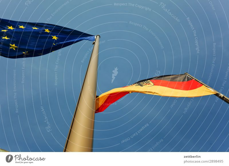 Germany/Europe German Flag Nationalities and ethnicity European flag Flagpole Worm's-eye view Sky Heaven Blow Wind Pole Deserted Copy Space brexite dexit
