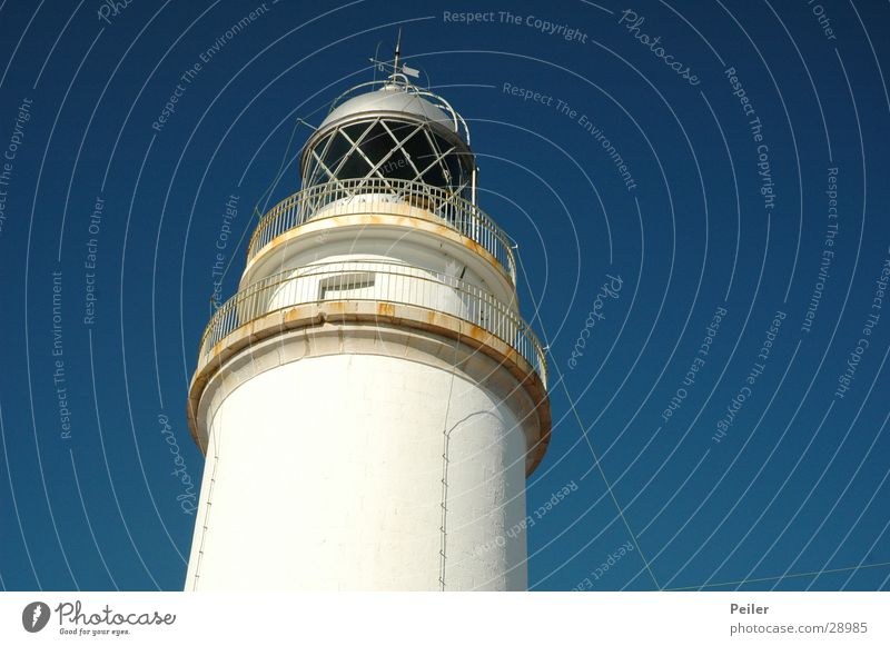 Lighthouse on Mallorcq Beacon Navigation White Navigation mark Majorca Cap Formentor Architecture Sky Blue