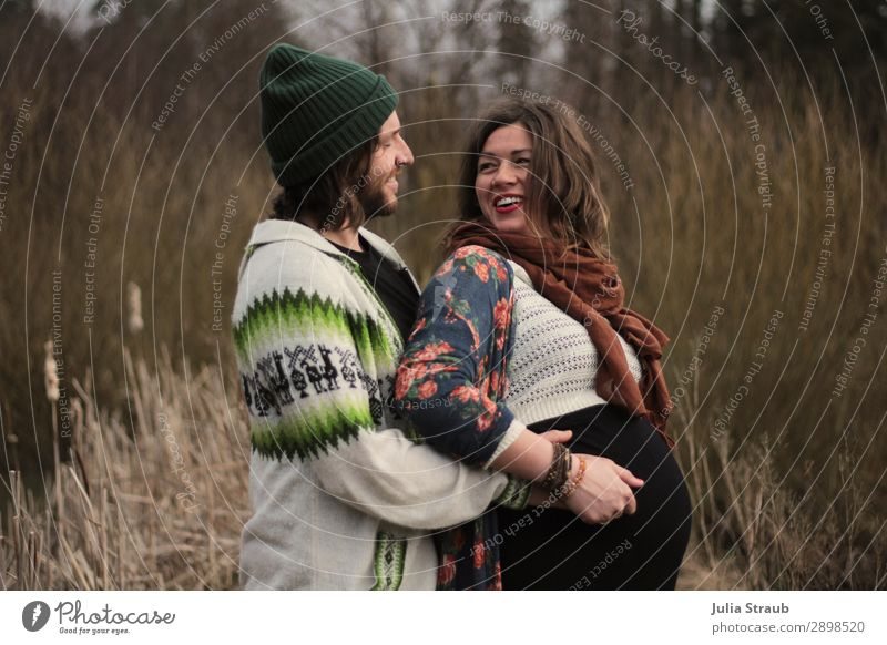 Human being Nature Beautiful Green Winter Adults Life Spring Natural Feminine Laughter Happy Grass Brown Bushes To hold on