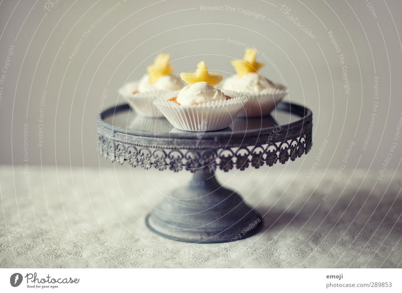 pineapple stars cupcakes Dessert Candy Nutrition Banquet Picnic Slow food Finger food Delicious Sweet Cupcake Cake plate Colour photo Interior shot Deserted