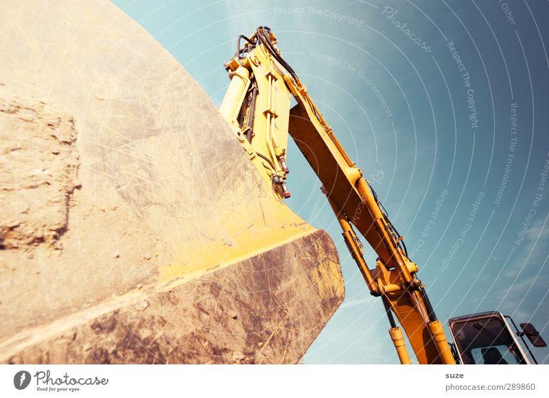 excavator shovel Work and employment Workplace Construction site Industry Services SME Environment Sky Beautiful weather Metal Gigantic Large Blue Yellow