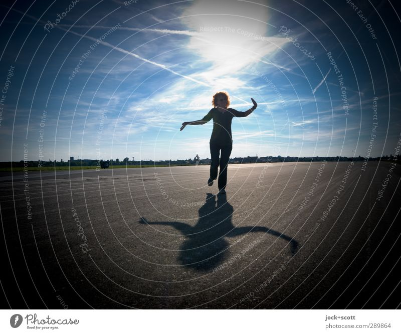 Balancing in life Harmonious Gymnastics Human being Woman Adults 1 45 - 60 years Sky Clouds Horizon Beautiful weather Runway Red-haired Long-haired Curl