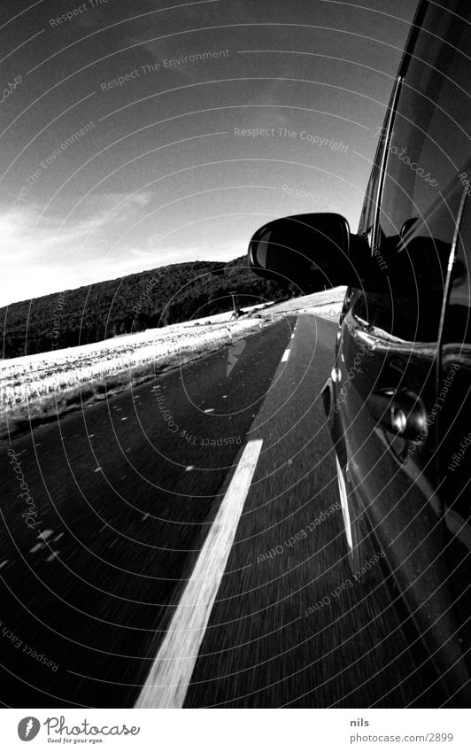 White Black Street Car Transport Speed Asphalt Mirror Country road Black & white photo Median strip Small car