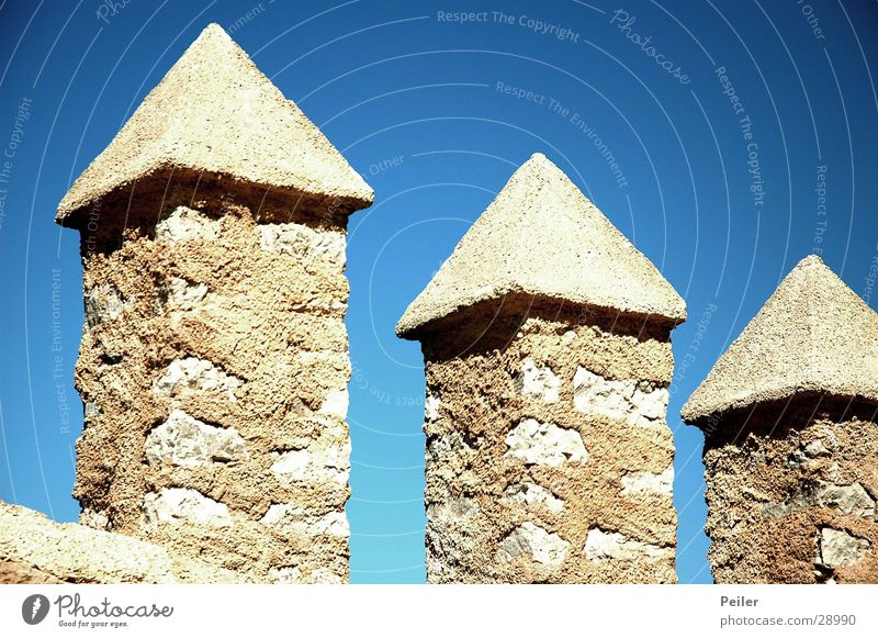 Three Towers 3 Architecture Stone Blue Sky Sun Point