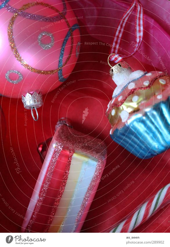 Sweet presents Joy Decoration Feasts & Celebrations Christmas & Advent Kitsch Odds and ends Glass Metal Ornament Sphere Line Stripe Eating Glittering To enjoy