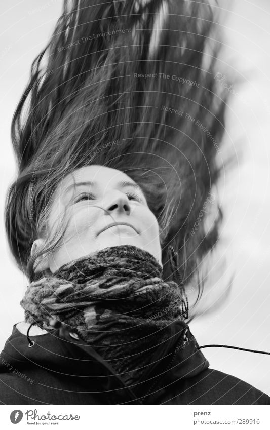 hair Human being Feminine Woman Adults Head Hair and hairstyles 1 45 - 60 years Long-haired Black White Rag Face Black & white photo Exterior shot Day