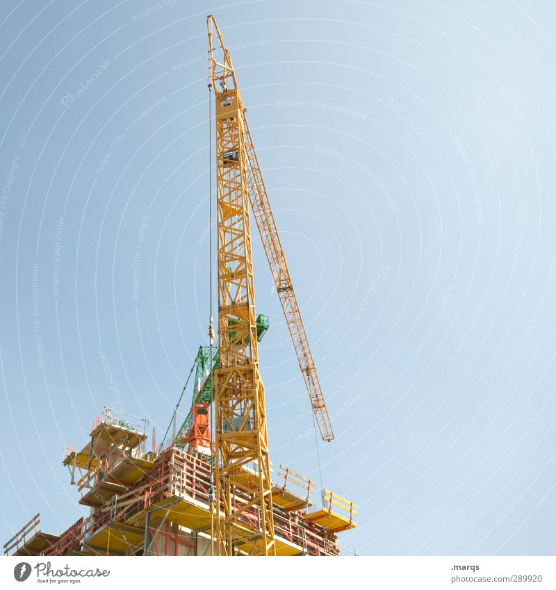 superstructure Work and employment Economy Industry Construction site Success Construction machinery Sky Cloudless sky Crane Build Tall Blue Yellow Beginning