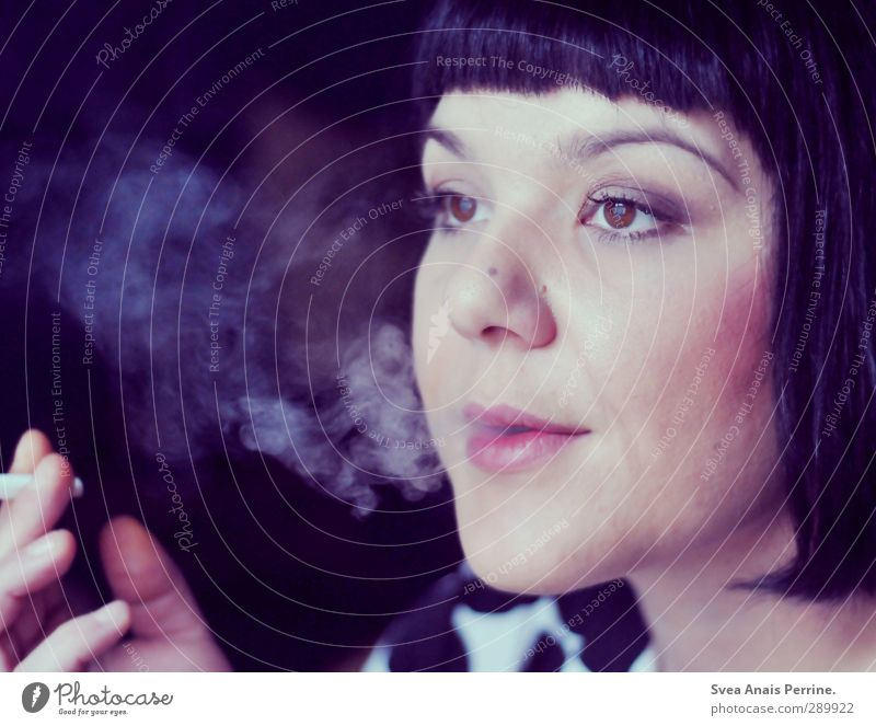 purple smoke. Feminine Woman Adults Hair and hairstyles Face Eyes Mouth Lips 1 Human being 30 - 45 years Black-haired Short-haired Bangs Observe To enjoy Dream