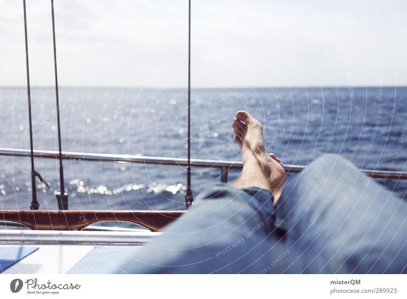 Blue Vacation & Travel Ocean Calm Relaxation Feet Horizon Lie Watercraft Leisure and hobbies Lifestyle Esthetic Break Sailing Navigation Remote