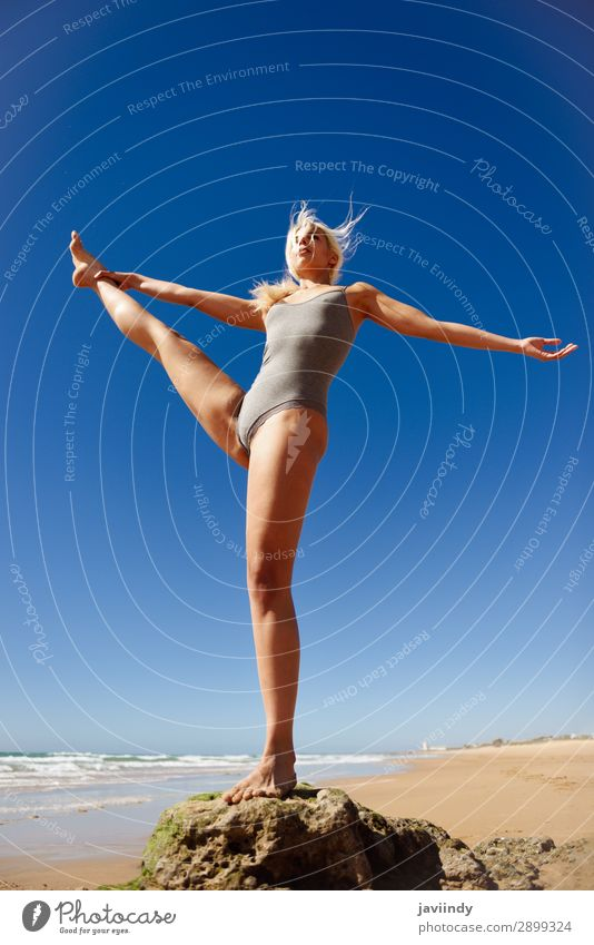 Caucasian blonde woman practicing yoga in the beach Woman Human being Sky Nature Youth (Young adults) Young woman Summer Beautiful Tree Ocean Relaxation Calm