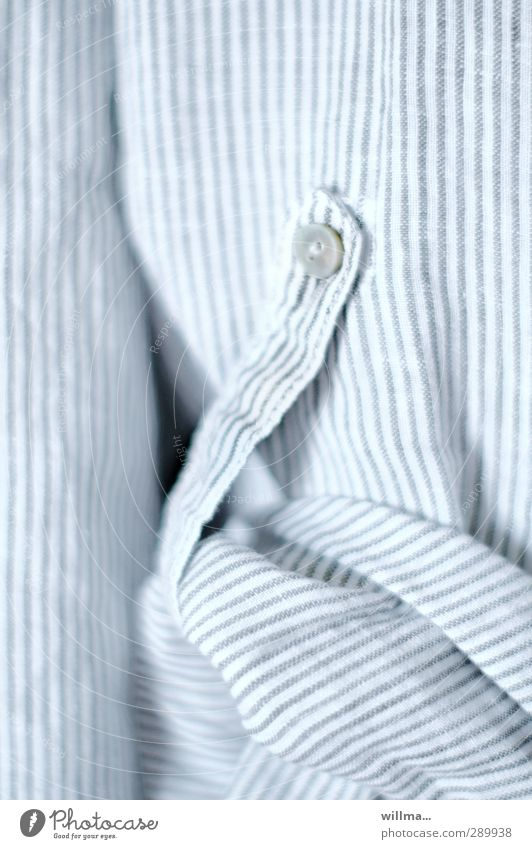 TOGGLE KNOBS Shirt Cloth Stripe Bright Blouse Striped Roll up Buttons Blue-white Textiles sleeve shirtsleeves butcher's shirt roll up Detail
