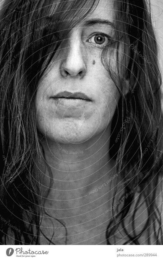 . Human being Feminine Woman Adults Hair and hairstyles Face 1 30 - 45 years Brunette Long-haired Authentic Sharp-edged Black & white photo Interior shot