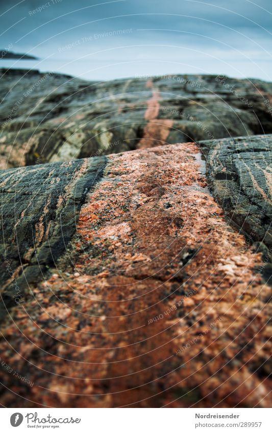 Nature Blue Ocean Calm Coast Stone Rock Moody Line Orange Esthetic Elements Stripe Threat String Uniqueness