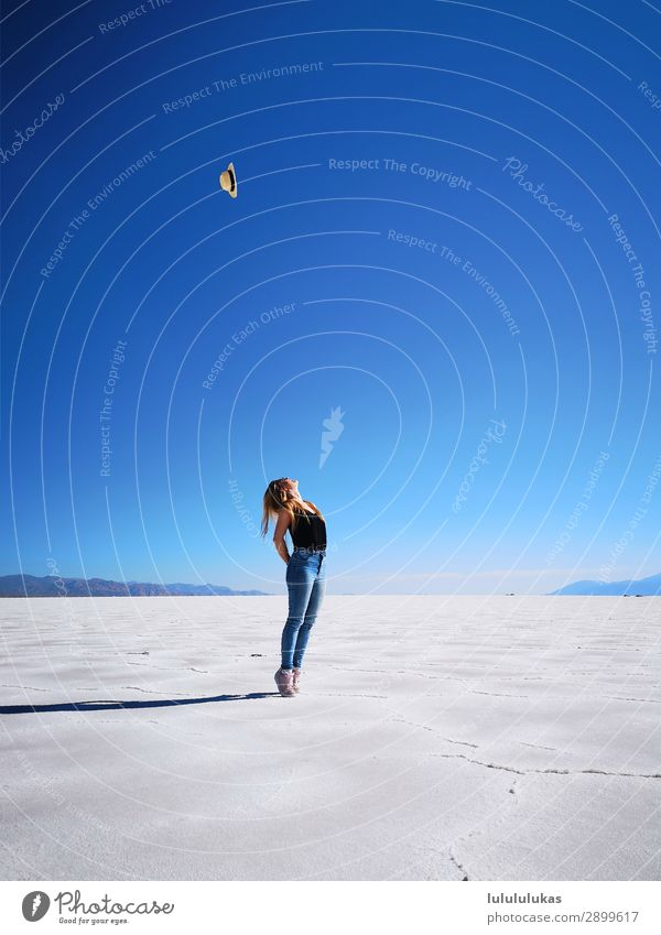 It's in the salt desert. Beautiful Feminine Young woman Youth (Young adults) 1 Human being 18 - 30 years Adults Nature Landscape Sky Cloudless sky