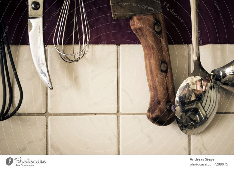 kitchen utensils Leisure and hobbies Living or residing Flat (apartment) Interior design Kitchen Spoon Knives Beater Old Gloomy Reflection Tile Colour photo