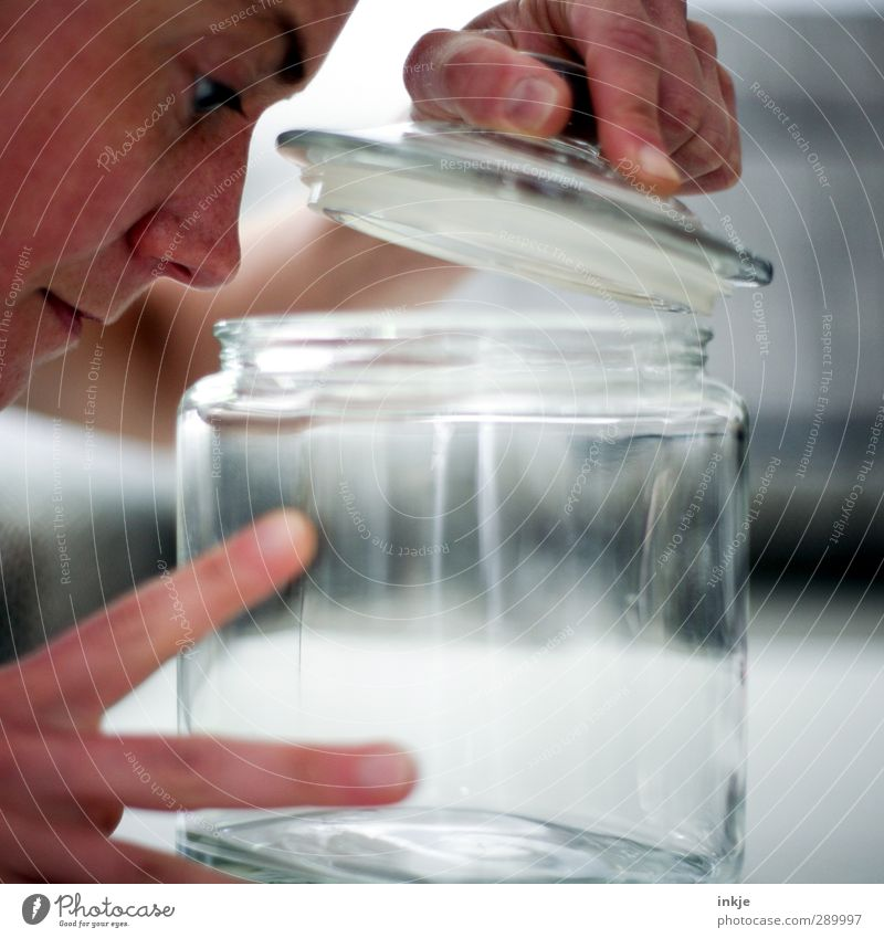 trash [scuffle picture] Human being Face Hand 1 Glass Glass container Preserving jar storage glass Discover Empty Undo take a look Colour photo Interior shot