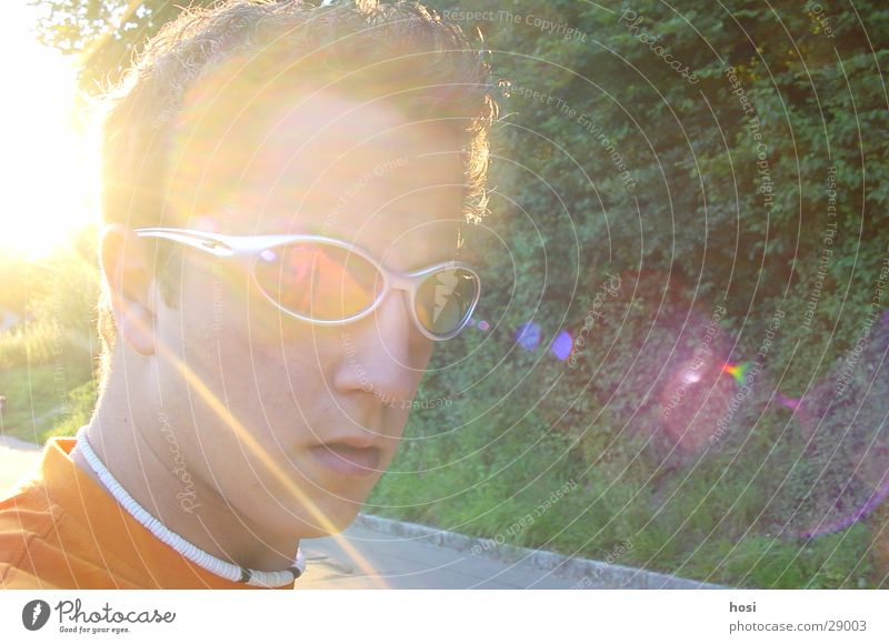 With the sun behind you Sunset Sunglasses Necklace Man Looking boy