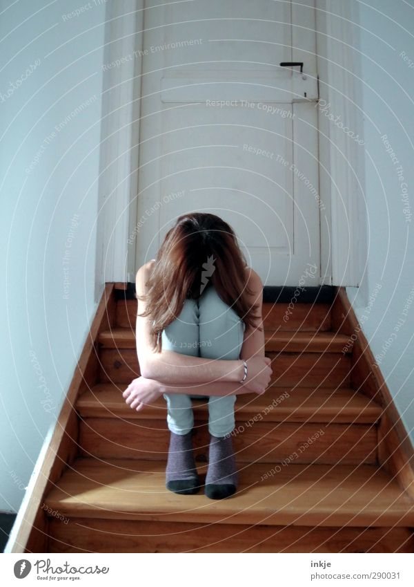 Do you have to? | sorrow Girl Infancy Life Body 1 Human being 8 - 13 years Child Stairs Door Crouch Sit Sadness Emotions Moody Grief Reluctance Pain Loneliness
