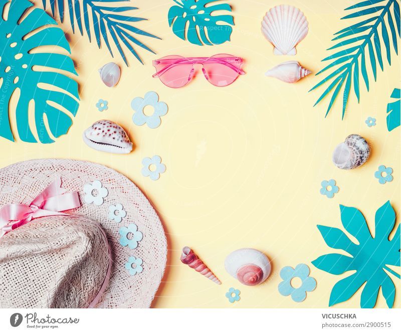 Vacation & Travel Summer Beach Background picture Yellow Tourism Party Design Decoration Summer vacation Hip & trendy Hat Turquoise Sunbathing Sunglasses