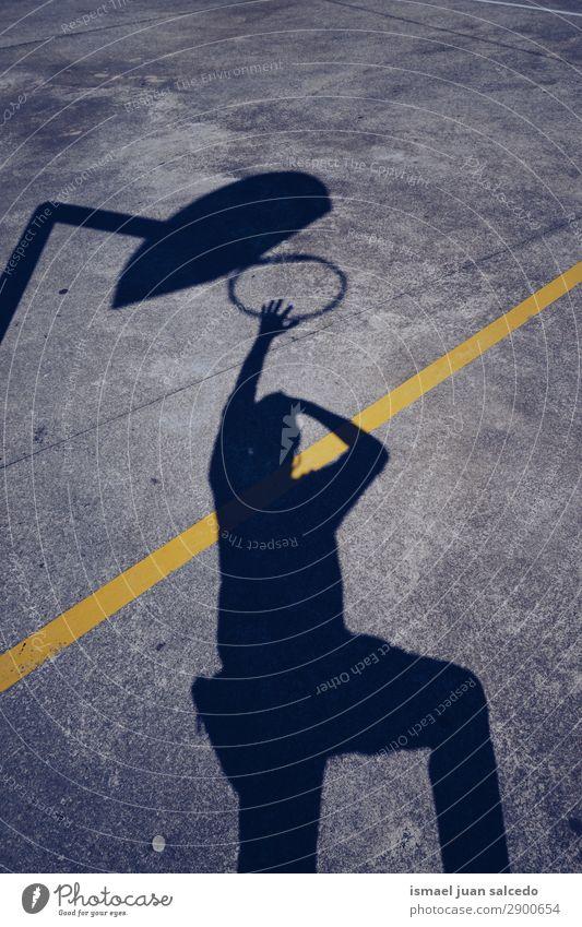 man shadow silhouette playing basket Human being Man Sun Street Sports Playing Ground Spain City Basket Minimal Bilbao