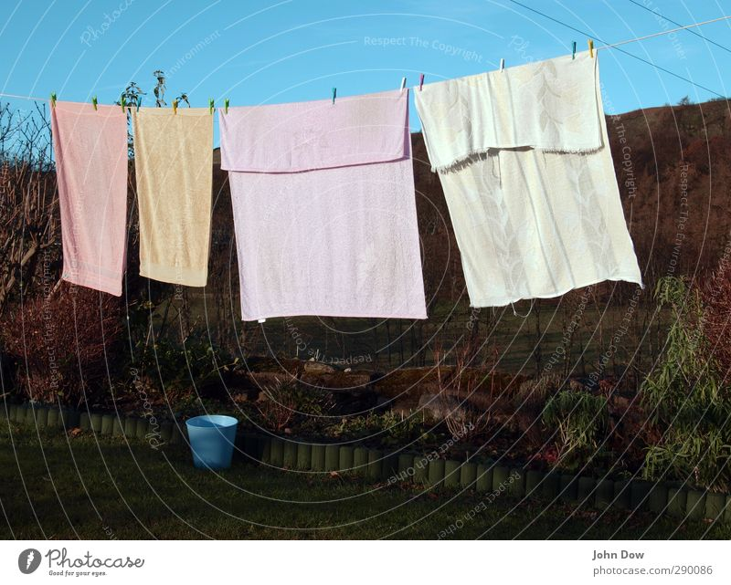 freeze-dry Bushes Garden Idyll Hang up Clothesline Towel Bath towel Rural Clothes peg Laundry Household Flowerbed Terry cloth To hold on Washing Dry Air