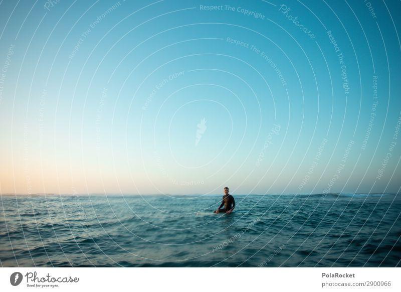 #A# waiting Art Esthetic Surfing Surfer Surfboard Surf school Aquatics Extreme sports Man Masculine Snapshot Calm Sit Wait Swell Ocean Past Colour photo