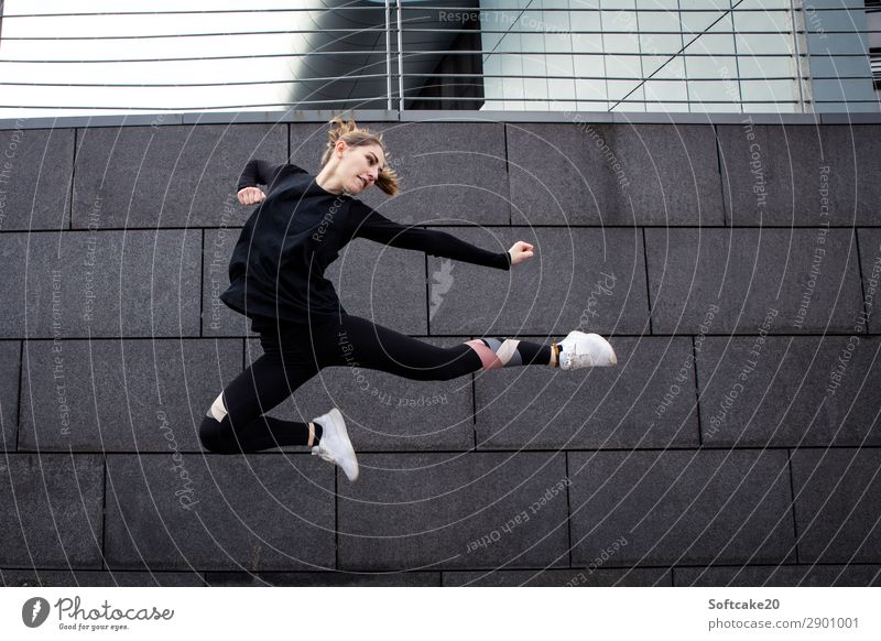 jump Lifestyle Healthy Athletic Sports Fitness Sports Training Martial arts Sportsperson Jump Esthetic Exceptional Threat Joy Bravery Self-confident