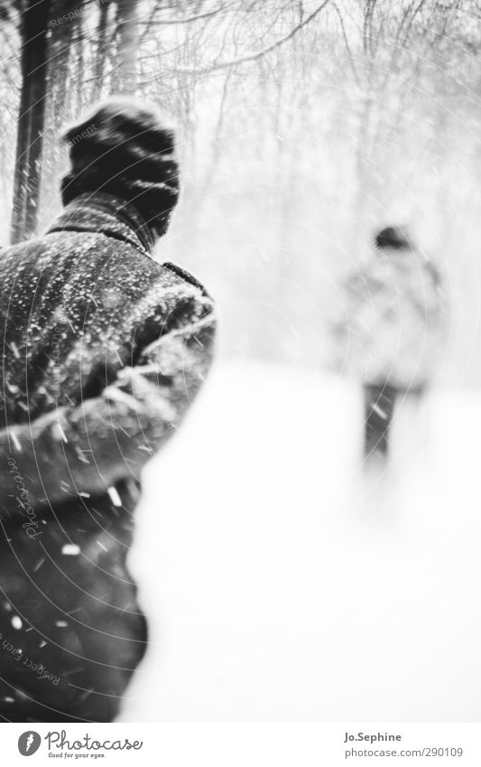 cold Winter Snowfall Snowstorm Weather Human being Seasons To go for a walk Forest Coat Cap Going Walking Cold lensbaby Black & white photo Exterior shot Day