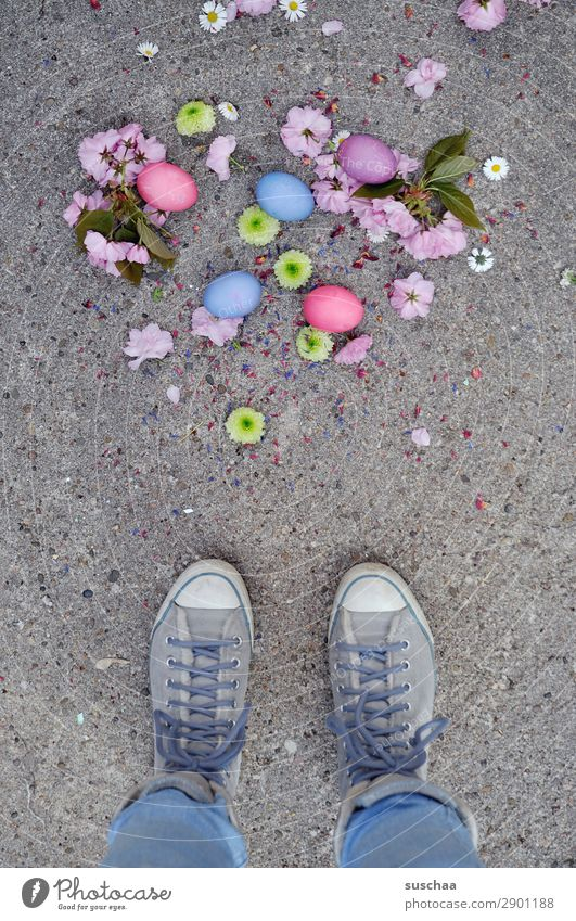 Easter .. dropped Woman Human being Legs Feet Easter egg Egg Feasts & Celebrations Tradition Multicoloured Colour Stand Street Asphalt Footwear lace-up shoes