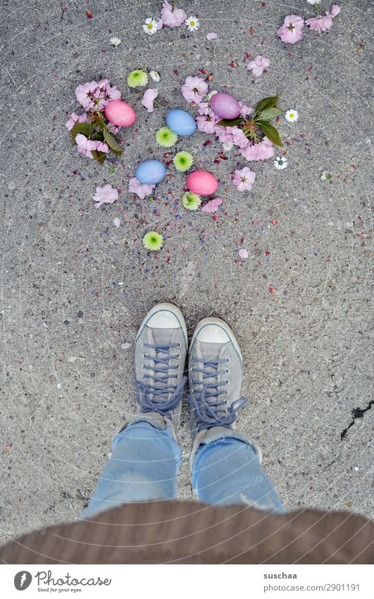 Woman Human being Colour Flower Street Legs Blossom Spring Feasts & Celebrations Feet Footwear Stand Easter Tradition Asphalt Strange