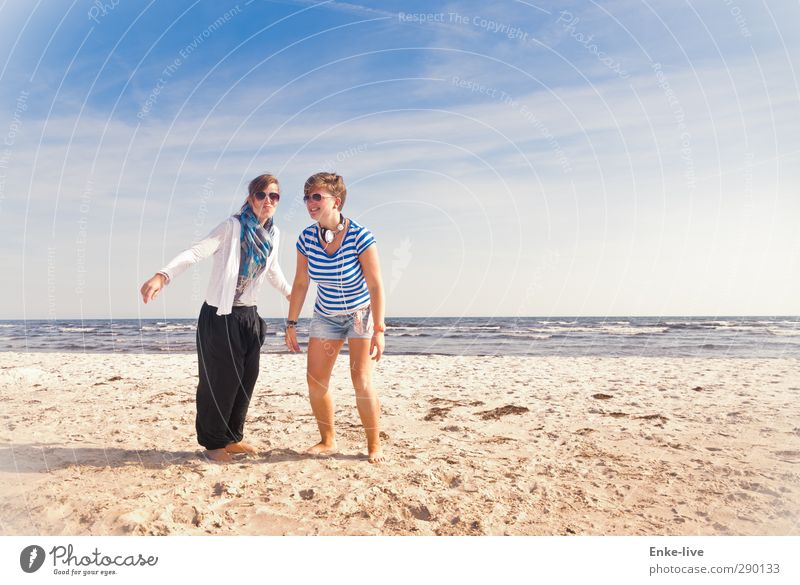 Human being Sky Nature Youth (Young adults) Vacation & Travel Water Summer Ocean Joy Beach Landscape Adults Young woman Freedom Coast Sand