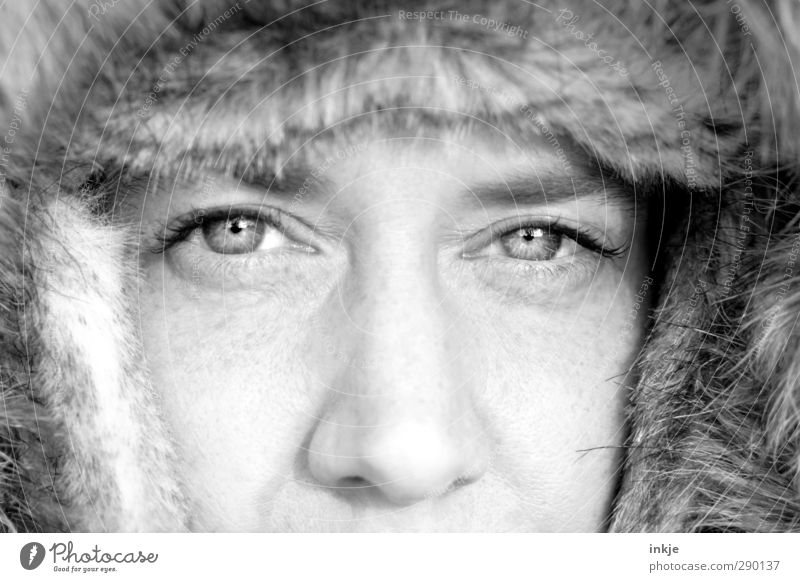 mama, its cold outside Style Winter Woman Adults Life Face Eyes 1 Human being 30 - 45 years Pelt Cap Fur hat Looking Cold Cuddly Warmth Soft Protection