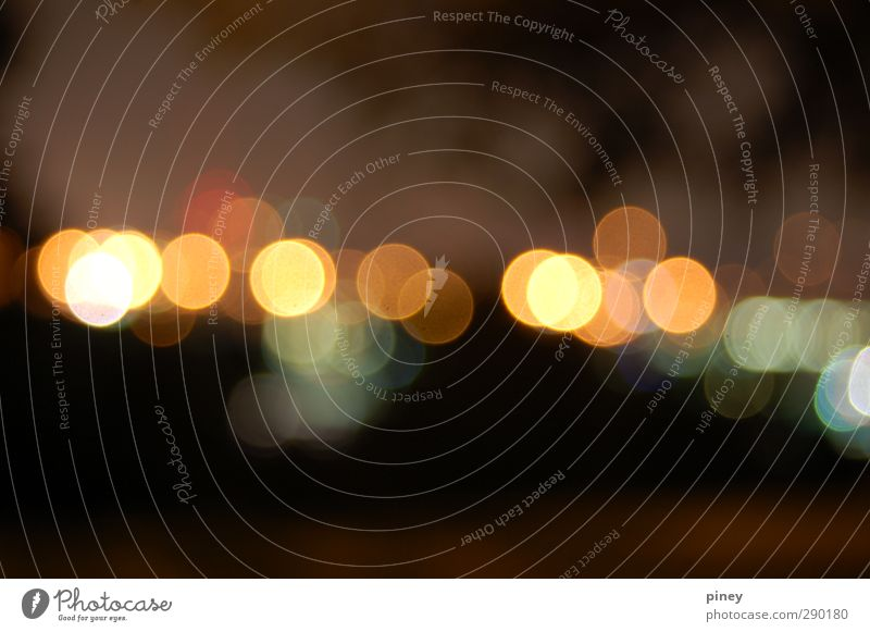 bokeh Night life Esthetic Bright Beautiful Yellow Orange Black romantic circles shapes round repetition Colour photo Exterior shot Experimental Abstract