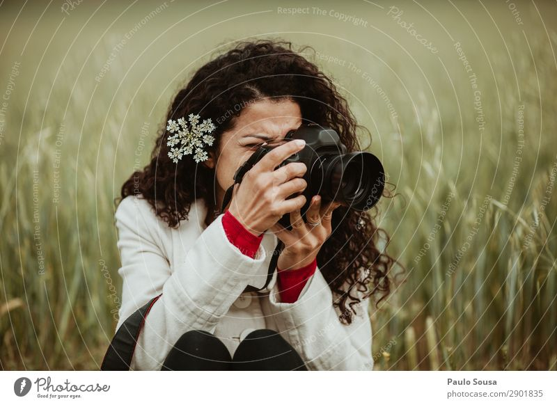 Girl Photographing Nature Lifestyle Photographer Photography Vacation & Travel Trip Freedom Spring Camera Feminine Young woman Youth (Young adults) Woman Adults