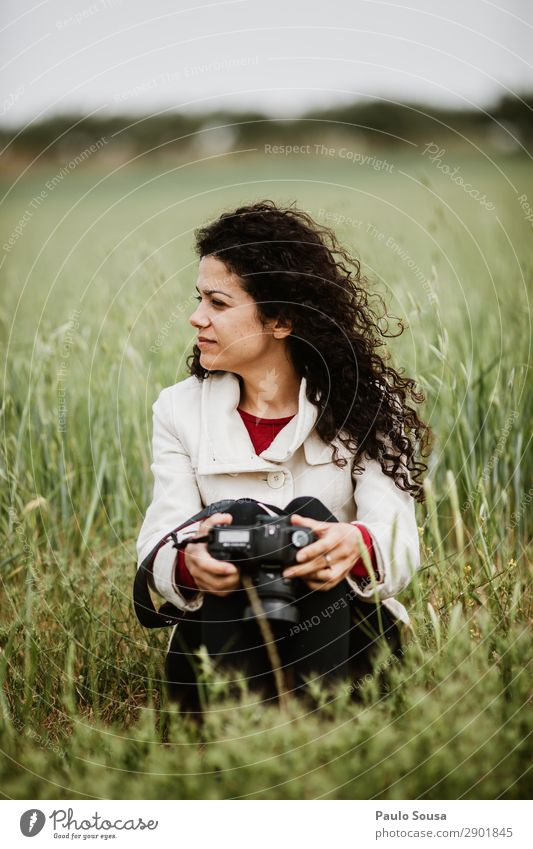 Girl Sitting in fields with a camera Lifestyle Photography Photographer Vacation & Travel Trip Adventure Spring Camera Feminine Young woman Youth (Young adults)