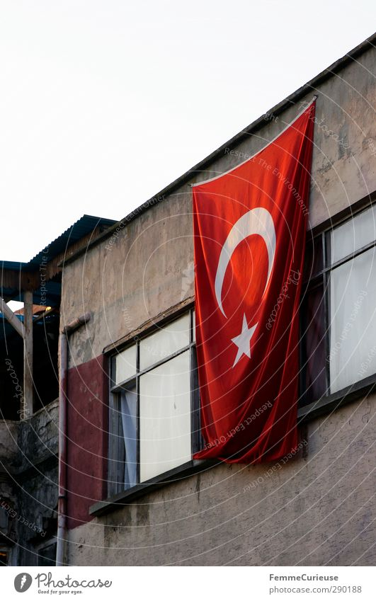 City White Loneliness Window Open Flag Indicate Curtain Tower block Blow Turkey Port City Hang up Istanbul Nationalities and ethnicity Housefront