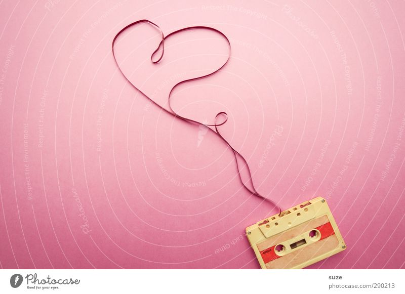 heartbeats Lifestyle Style Design Leisure and hobbies Valentine's Day Feminine Music Listen to music Media Sign Heart Simple Retro Pink Emotions Love