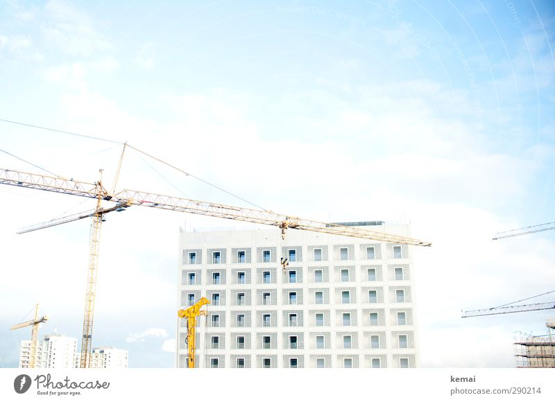 library Crane Construction site Sky Clouds Town House (Residential Structure) Manmade structures Building Architecture Library Facade Window Esthetic Bright New