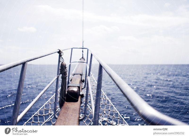 To new horizons. Art Esthetic Sailing Navigation Railing Bow Swell Ibiza Relaxation Caribbean Sea Mediterranean sea Horizon Infinity Future Vacation & Travel
