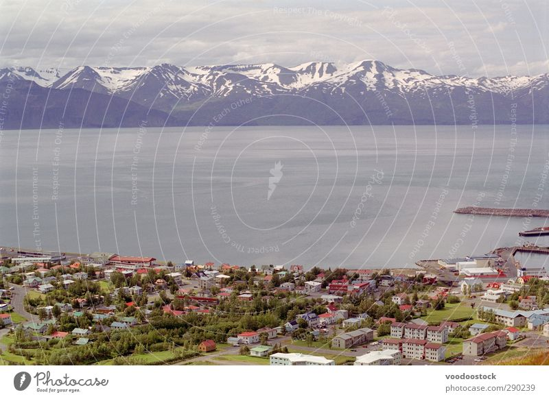 Distant Mountain Range Nature Water House (Residential Structure) Environment Far-off places Snow Gray Horizon Weather Roof Harbour Snowcapped peak Iceland