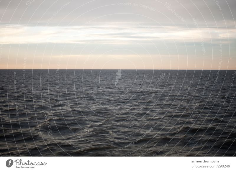horizon Far-off places Freedom Cruise Ocean Water Sky Clouds Sunrise Sunset Climate change Waves Coast North Sea Baltic Sea Boating trip Contentment Loneliness