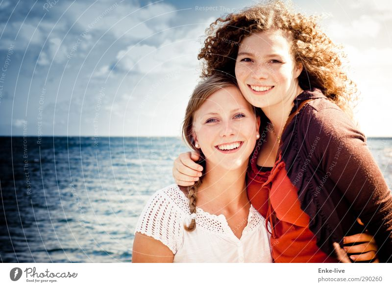 Human being Sky Nature Youth (Young adults) Water Beautiful Ocean Landscape Relaxation Adults Young woman Love Feminine Laughter 18 - 30 years Healthy