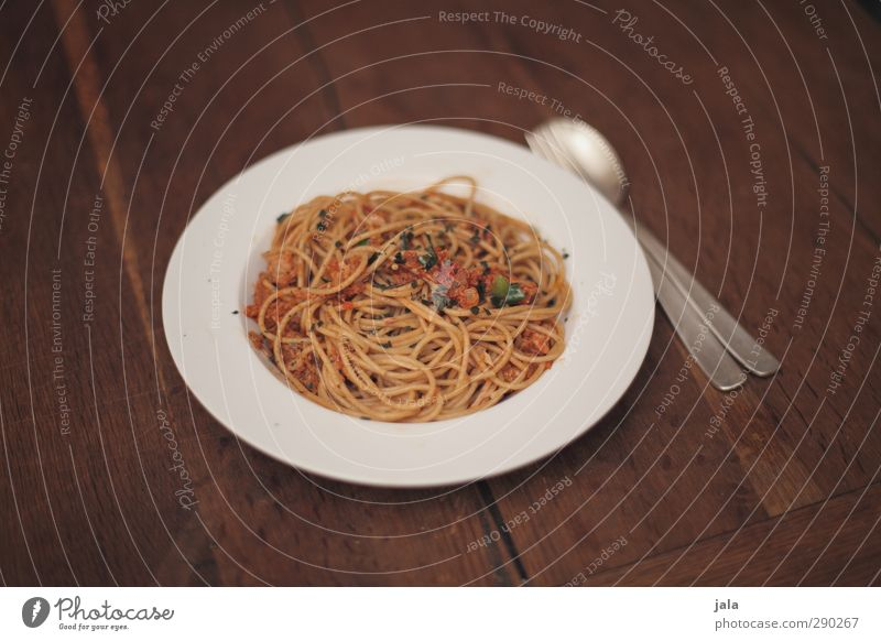 Food Nutrition Appetite Delicious Crockery Organic produce Plate Baked goods Lunch Dough Cutlery Fork Spoon Wooden table Spaghetti Seafood