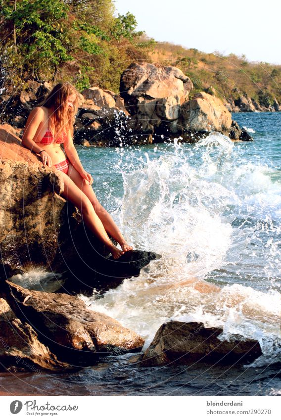 Human being Child Youth (Young adults) Beautiful Ocean Beach Adults 18 - 30 years Eroticism Feminine Swimming & Bathing Stone Jump Rock Body Wild