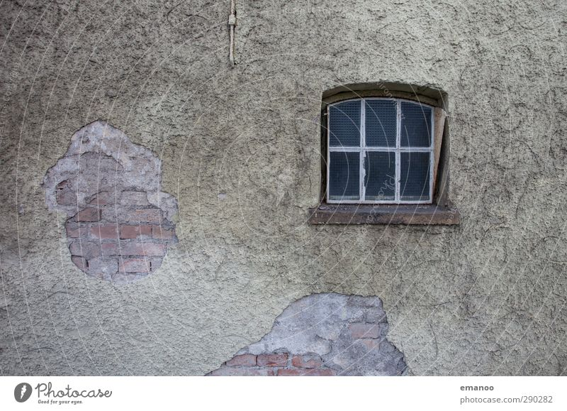 Old House (Residential Structure) Naked Window Wall (building) Senior citizen Wall (barrier) Gray Building Stone Facade Glass Gloomy Broken Manmade structures Village